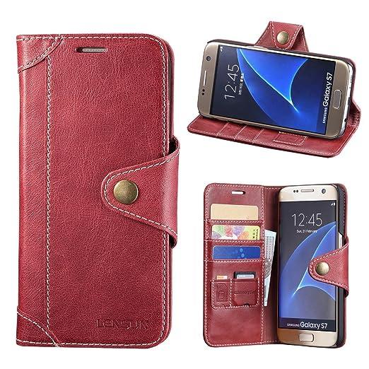 36 opinioni per Cover Galaxy S7, Lensun in Vera Pelle Cuoio Custodia Genuino Annata a