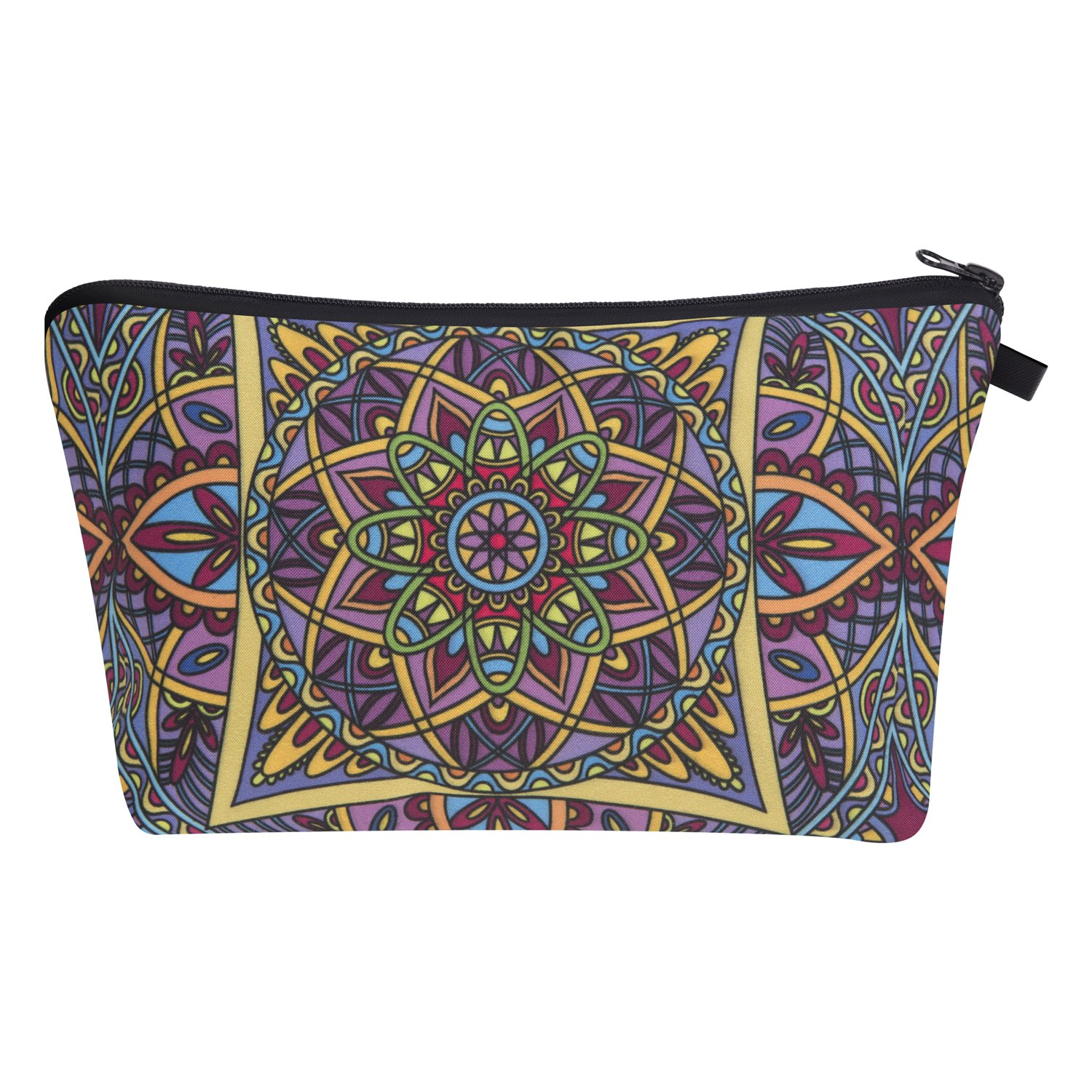 Hanessa Kosmetiktasche Kulturbeutel Beutel Mäppchen Tüte Federmappe Zipper Make Up Bag Reißverschluss All Over Full Print Kosmetiktüte Aztek Muster Blau Grün Blüte Mandala SB4