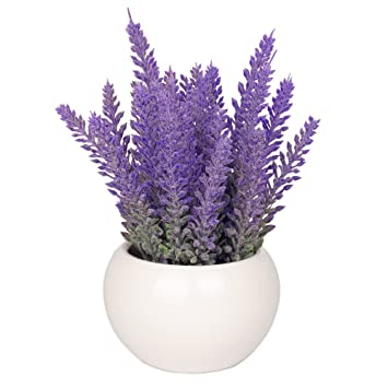 Vgia White Ceramic Artificial Potted Plant With Home Decorative Fake Lavender Flowers