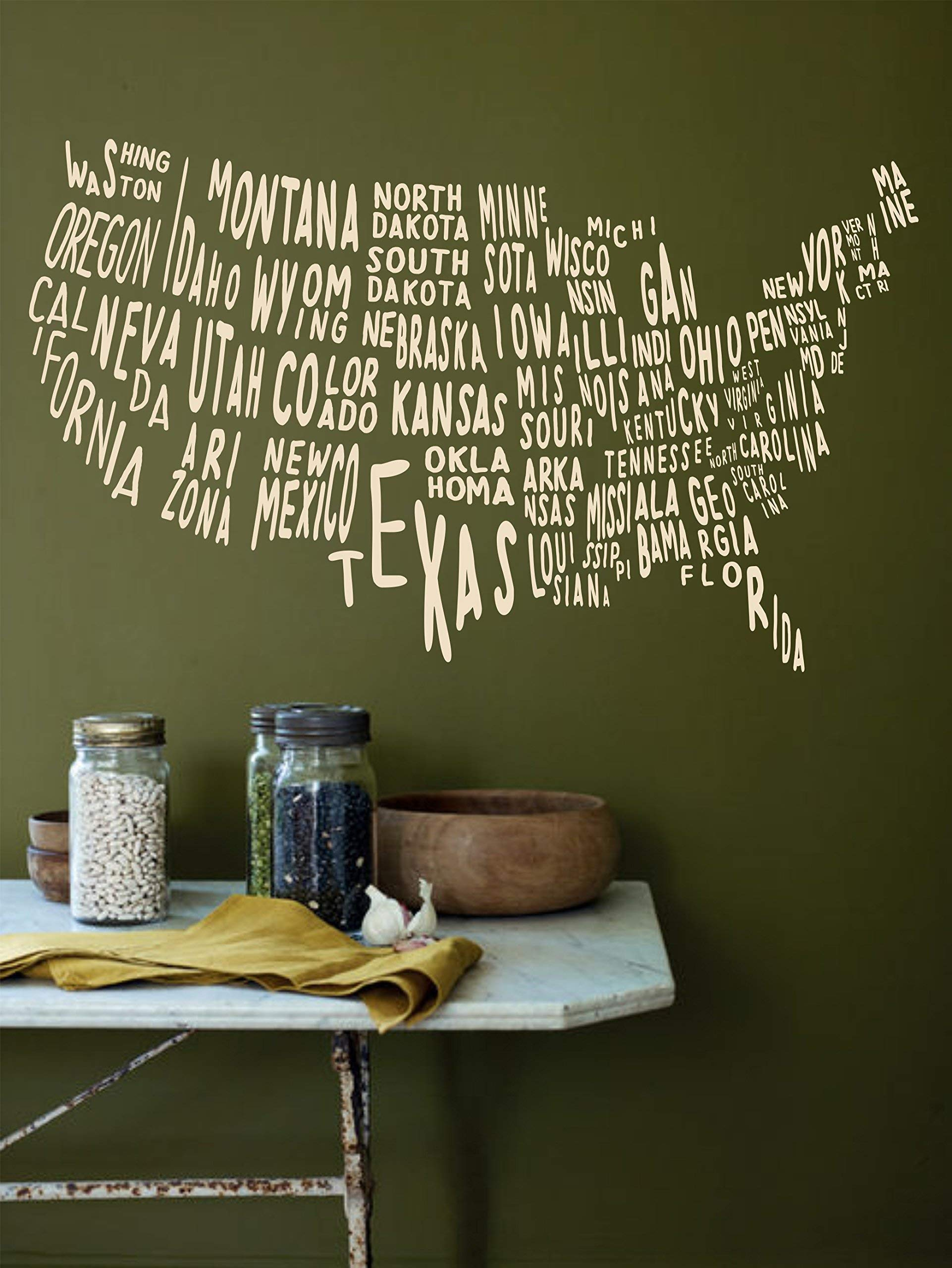USA Map Wall Decal with States for office, classroom, living room, bedroom decoration | United States Map Removable Vinyl Sticker
