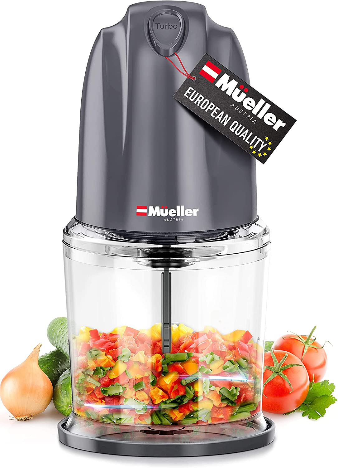 Mueller Electric Chopper Mini Food Processor for Vegetables, Fruits, Nuts, Meats, and Puree - 2 Stainless Steel Blades & Whisk for Chopping, Blending, Slicing, Whisking, Gray