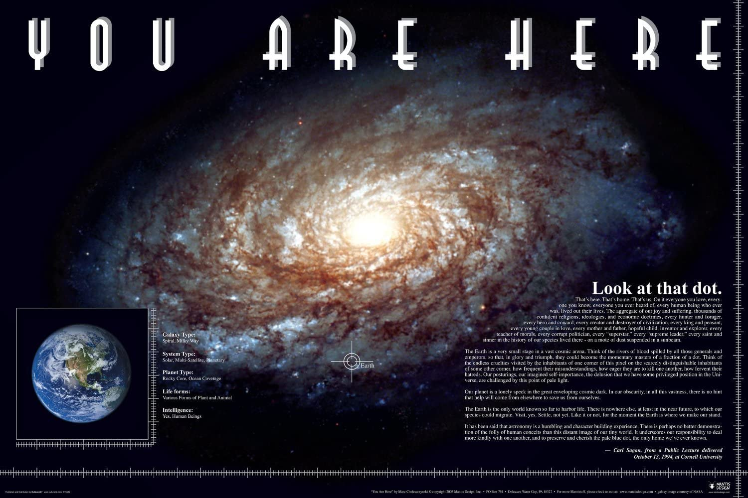 Laminated You Are Here Carl Sagan Quote Galaxy Planet Poster Print 24x36 Amazon Ca Home Kitchen
