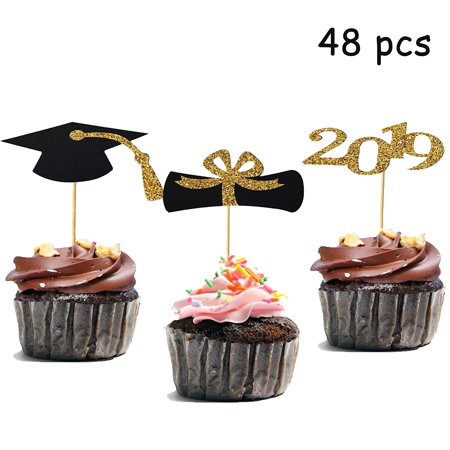 48pcs Graduation Cupcake Toppers 2019 Graduation Party Decorations Black And Gold Cupcake Decorations