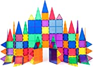 PicassoTiles 100 Piece Set 100pcs Magnet Building Tiles Clear Magnetic 3D Building Blocks Construction Playboards, Creativity
