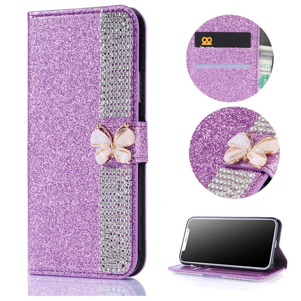 Stysen Galaxy A3 2017 Wallet Case,Bling Purple Bookstyle with Strass Butterfly Bowknot Buckle Protective Wallet Case Cover for Samsung Galaxy A3 2017-Diamond,Purple