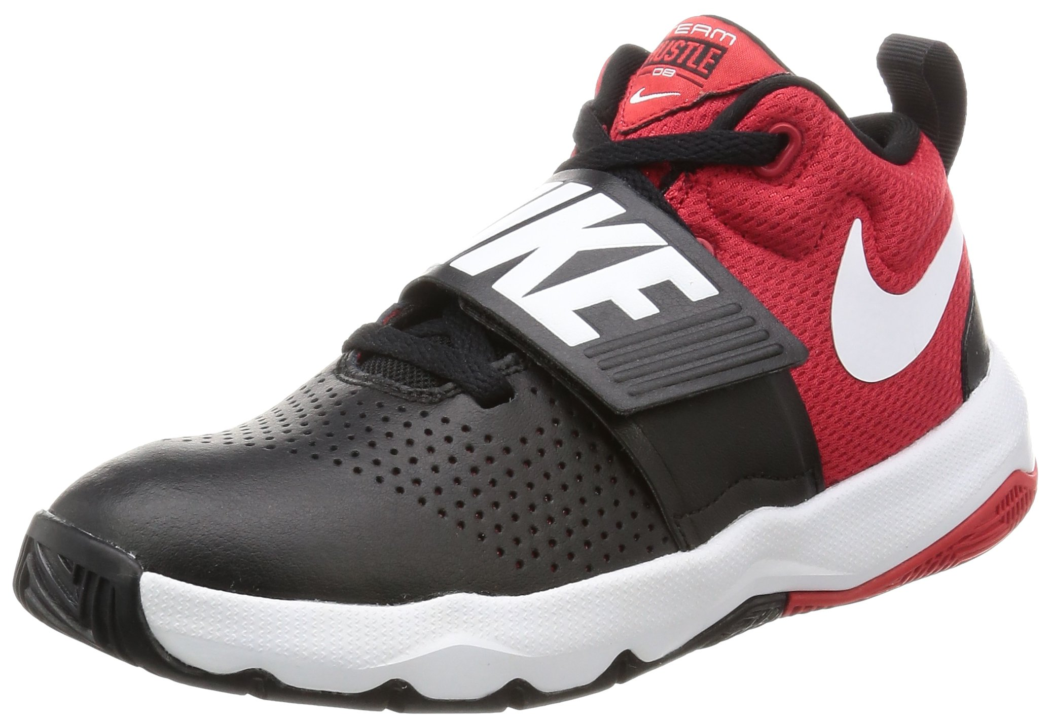 NIKE Boy's Team Hustle D 8 (GS) Basketball Shoe Black/White/University Red Size 6 M US