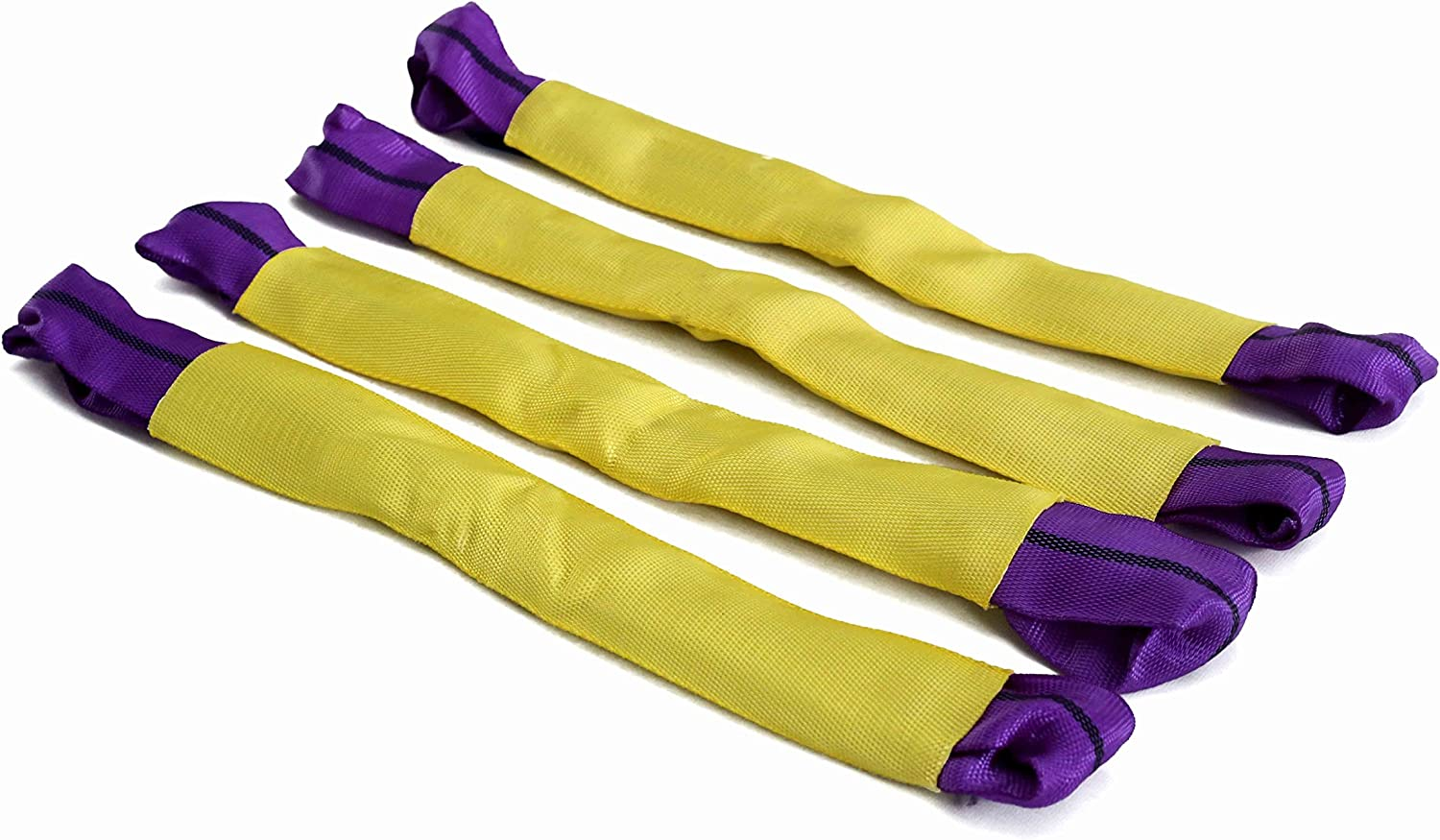 4 DiversityWrap Alloy Wheel Bridging Securing Link Straps for Axle Recovery Vehicle Trailer Transporter Yellow//Purple