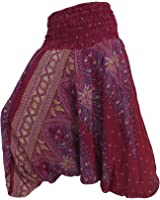 Hippie Boho Festival Peacock Genie Harem Pants Trousers Jumpsuit Dark Red