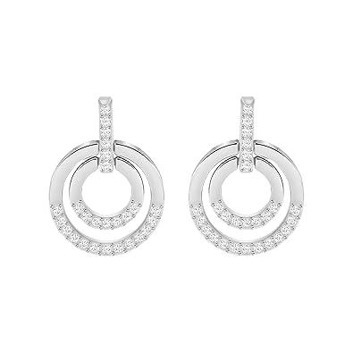 9c489b47695b7 Swarovski Circle Pierced Earrings, Medium, White, Rhodium plating ...