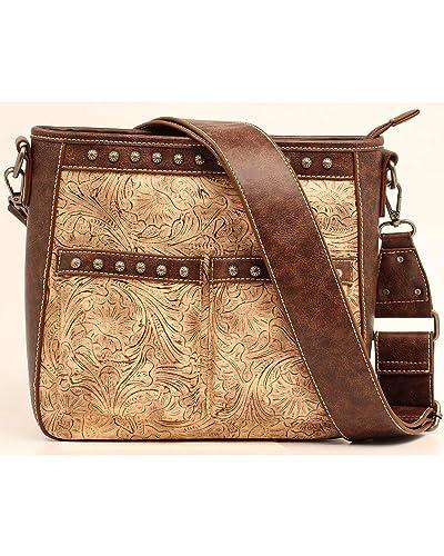 Blazin Roxx Women s Lydia Style Crossbody Bag, Taupe, Chocolate, OS ... 280ce46936