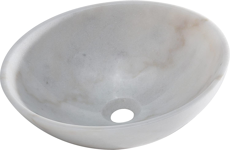 AA Warehousing BRIELLI Marble Vessel Sink, White Off White Grey, 15 L x 15 W x 5 D