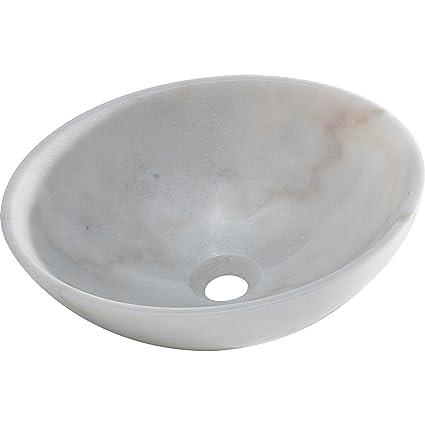 Y Decor BRIELLI Marble Vessel Sink, White/Off White/Grey, 15u0026quot;