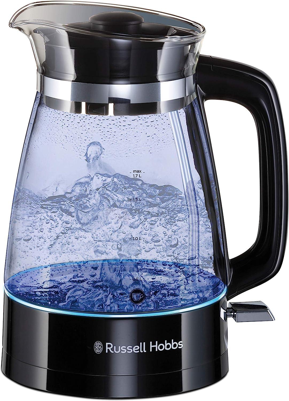 Russell Hobbs Glass Classic - Hervidor de Agua (Eléctrico, 1.7 l, Acero Inox, 2400 W, Cristal, Negro) - ref. 26080-70