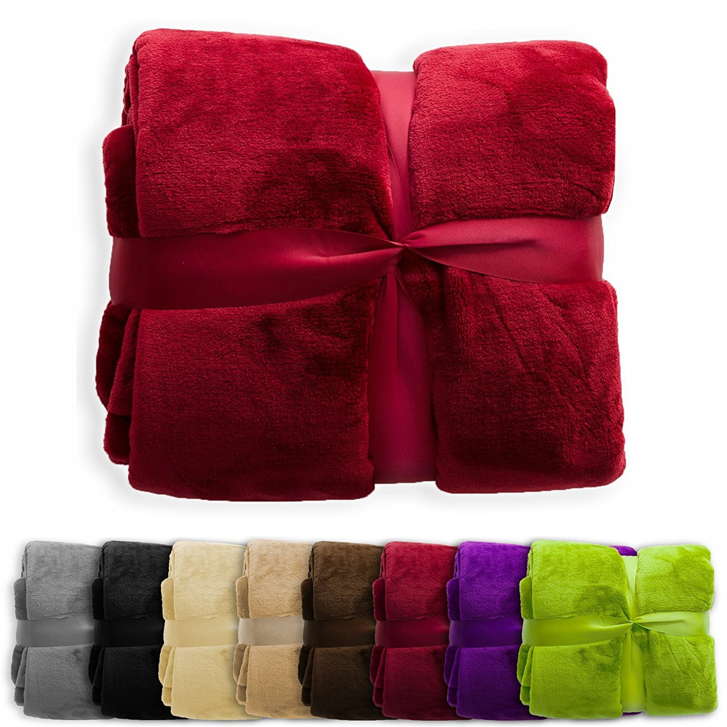 casa pura Fleece Throw Blanket | Plush Blanket Throw for Couch or Queen Size Bed | Super Soft & Cozy Fur Blankets | Various Sizes and Colors | Burgundy - 86'' x 94''
