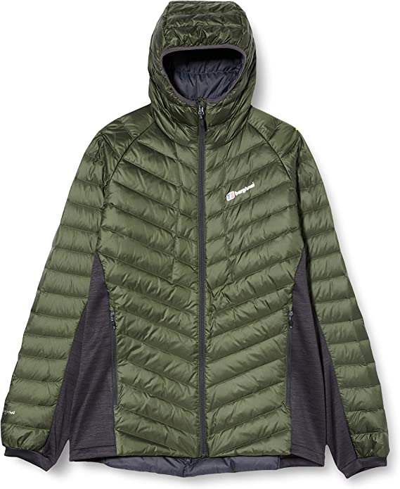Image of a green and gray colored insulated jacket with diagonal front stitch design, zipper type closure extending up to the chin.