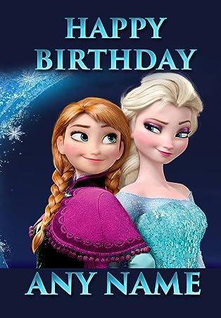 Top personalisierbar blau Frozen Elsa und Anna Geburtstagskarte XW94
