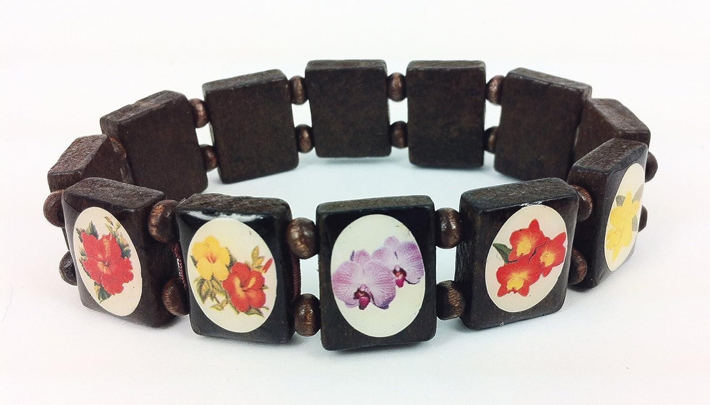 Pacifica Island Art Vintage Hawaiian Flower Bracelet Deluxe Schima Superba Wood Jewelry Inc.