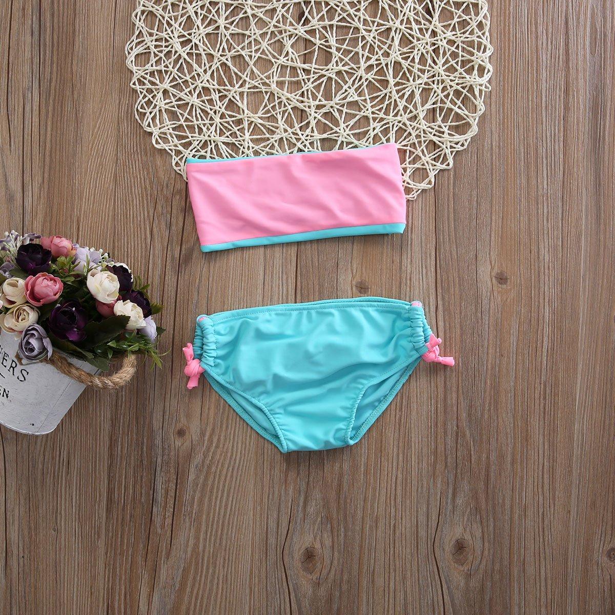 Pudcoco Kids Little Girls 2 pcs Bikini Set Bra Tube Top and Bowknot Shorts Swimsuit