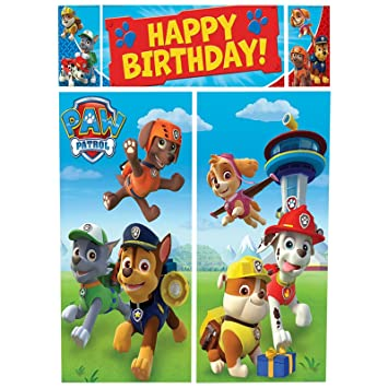 Paw Patrol Room Roll Scene Setter Birthday Banner Decoration Puppy Pets Wall Party