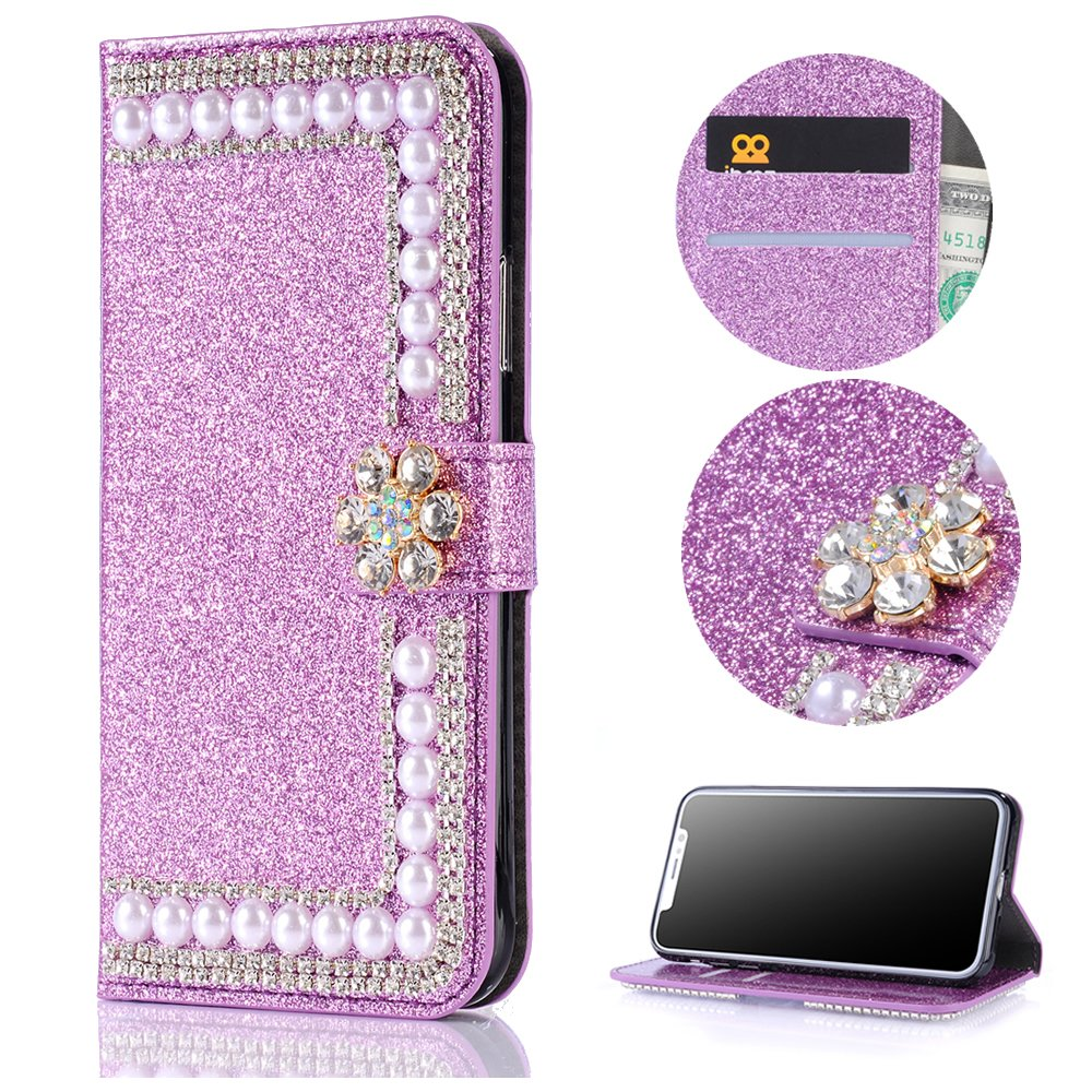 Stysen Wallet Case for iPhone 5 5S,Shiny Pearl Pattern Purple Bookstyle with Strass Flower Buckle Protective Wallet Case Cover for iPhone SE 5S 5-Flower,Purple by Stysen (Image #1)