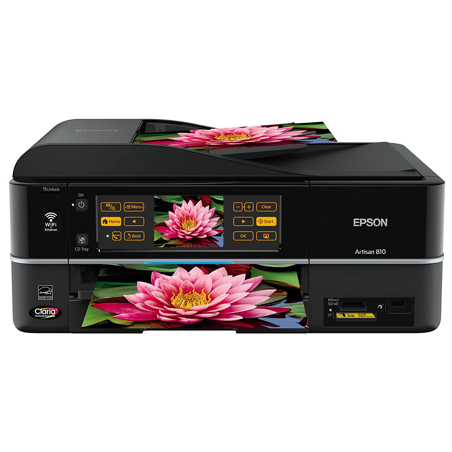 Epson Artisan 810 Wireless All-in-One Color Inkjet Printer, Copier,  Scanner, Fax (C11CA52201)