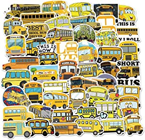Cartoon School Bus Stickers, 50Pcs Waterproof Vinly Stickers for Laptop Skateboard Water Bottle Guitar, Cute Stickers for Kids Teens and Adults