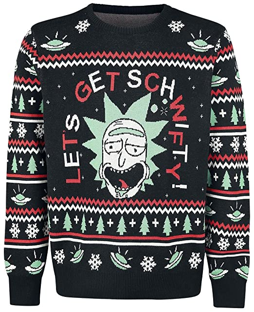Rick And Morty Lets Get Schwifty Jersey de Punto Negro S