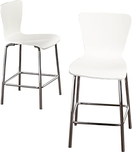 Target Marketing Systems Pisa Wood Bar Stool, 24 , White Silver