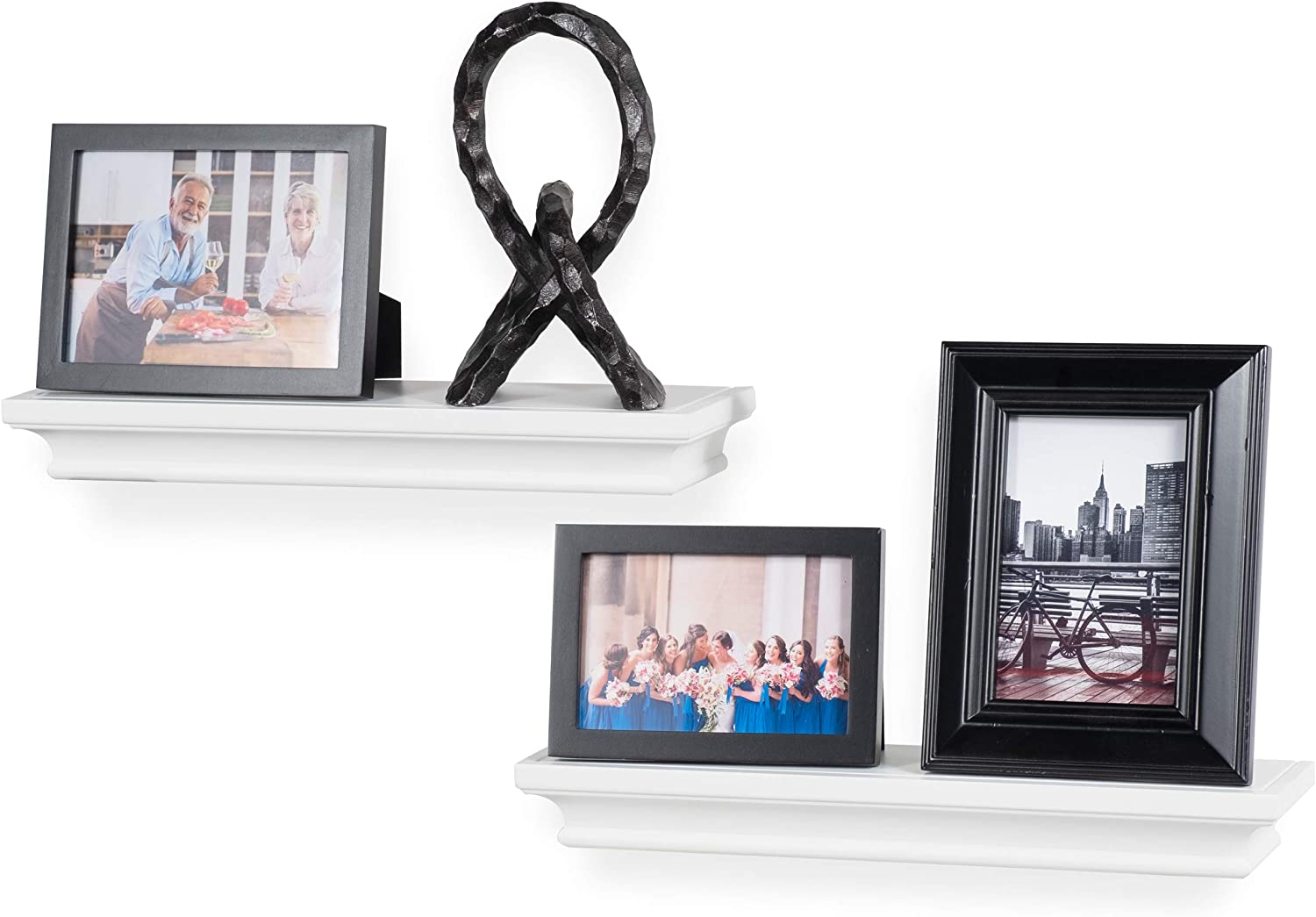 brightmaison Crown Molding Floating Shelves Picture Ledge – 2 Set Shelf – for Frames Book Display Décor with Concealed Metal Bracket for Stable Wall Mount (White)
