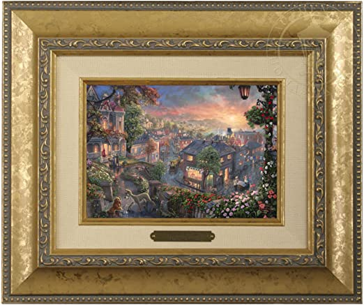 Amazon Com Thomas Kinkade Disney Lady And The Tramp Brushwork Gold Frame Paintings
