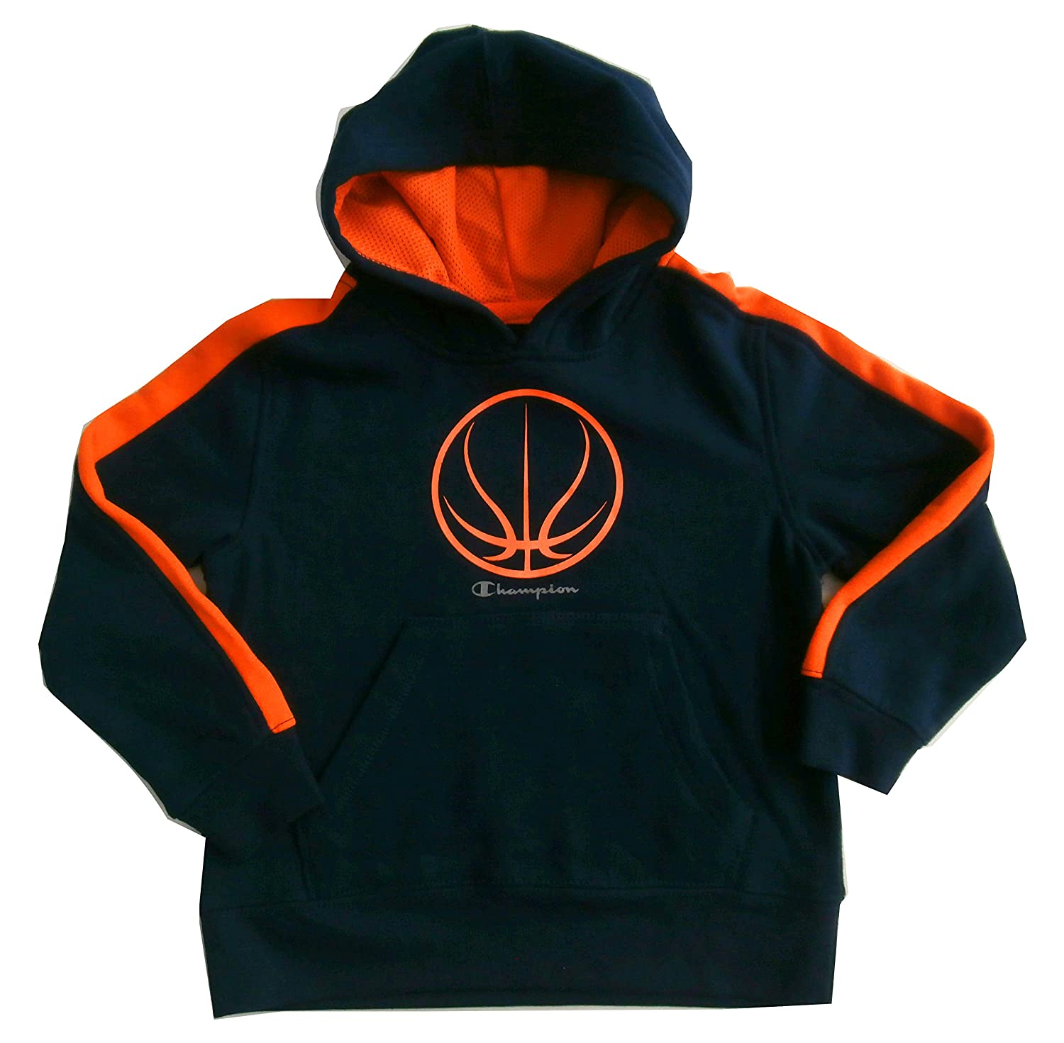Champion Boys Size 5Basketball Authentic Hoodie Navy Orange
