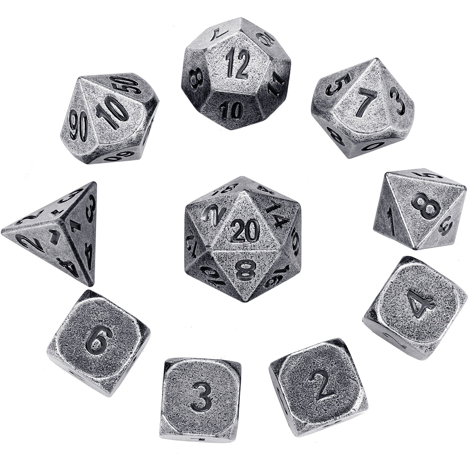 Hestya 10 Pieces Metal Dices Set DND Game Polyhedral Solid D&D Dice Set with Storage Bag and Zinc Alloy with Printed Numbers for Role Playing Game Dungeons and Dragons, Math Teaching (Silver Nickel) by Hestya