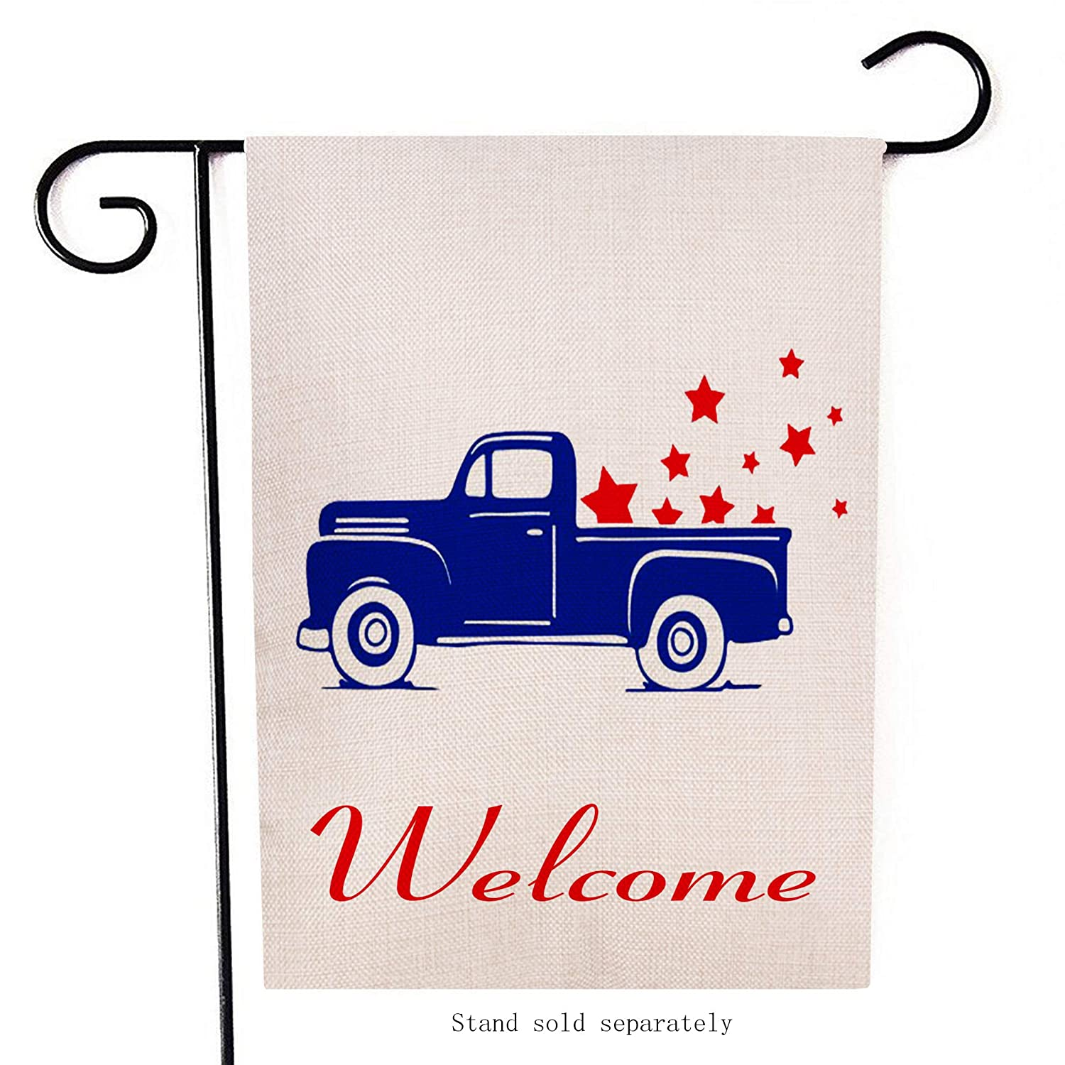 Artofy Home Decorative 4th of July Truck Small Garden Flag Patriotic Double  Sided, American Burlap Welcome USA Farm Pickup House Yard Decoration,