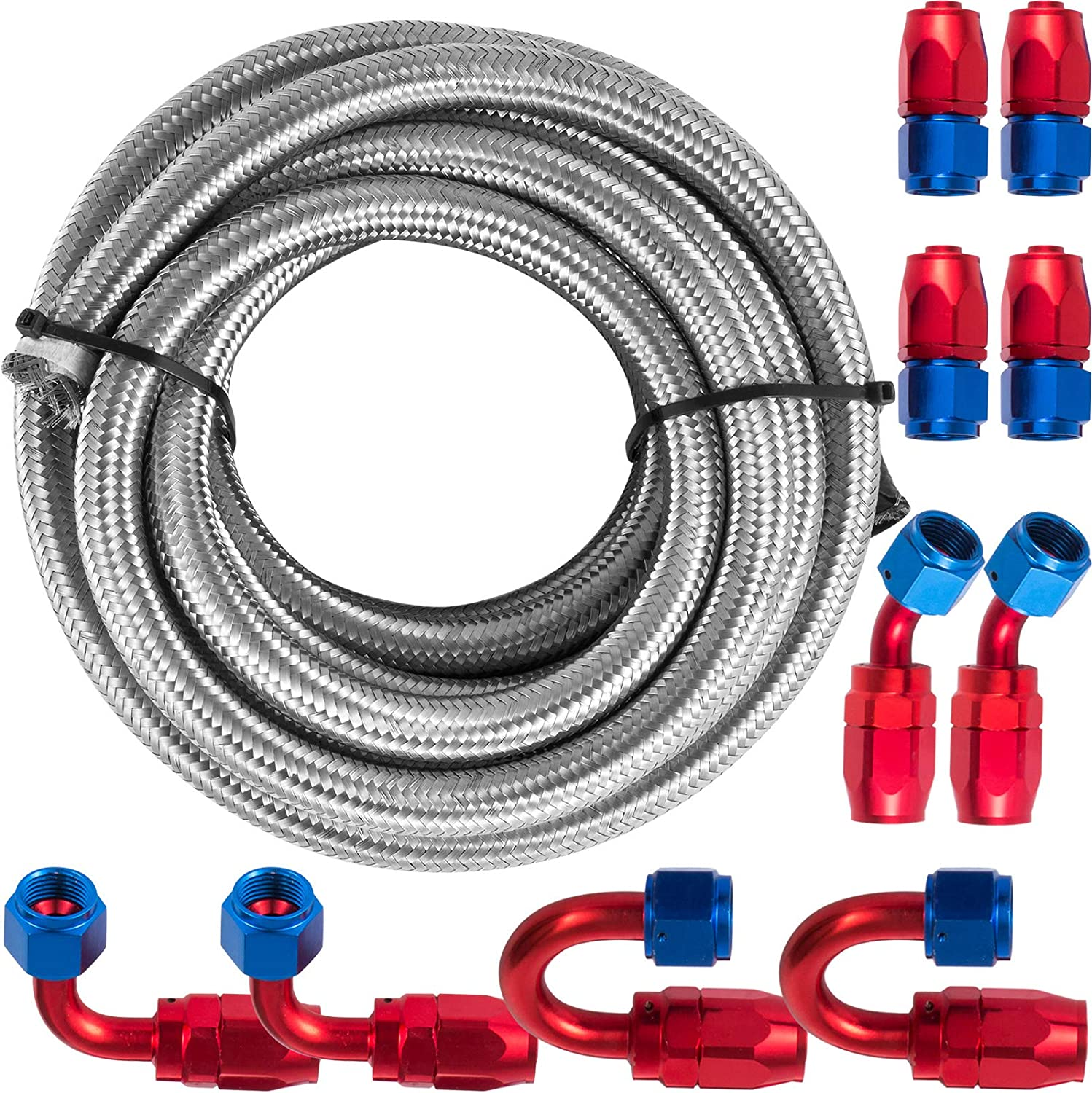 10ft 1//2 Fuel Line with 6Pcs 8AN Hose End Adapter and 2Pcs 8AN Hose Separator Clamps Nylon Braided Fuel Hose Kit Great for Coolant Hose and Oil Hose Repair Projects