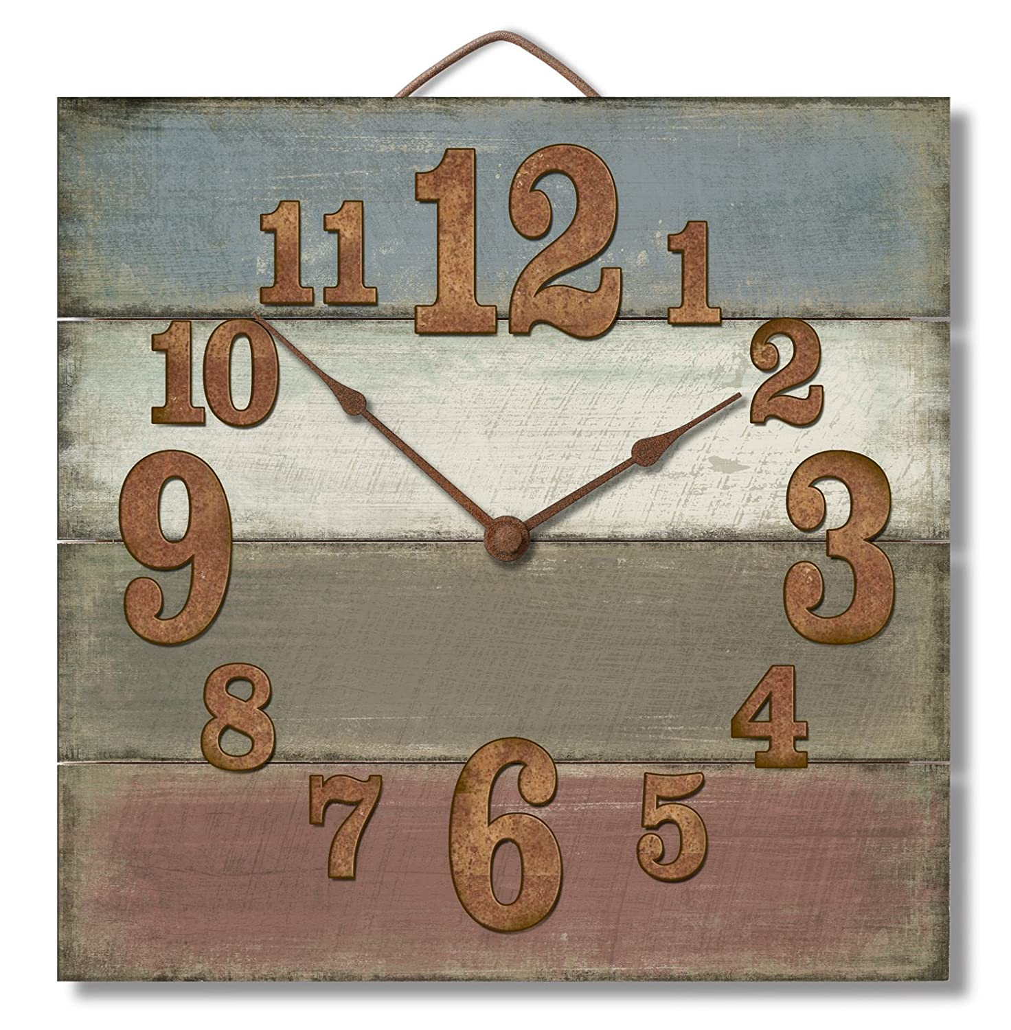 Amazon highland graphics 12 rustic turquoise blue wall clock amazon highland graphics 12 rustic turquoise blue wall clock made in usa from reclaimed wood slats home kitchen amipublicfo Image collections