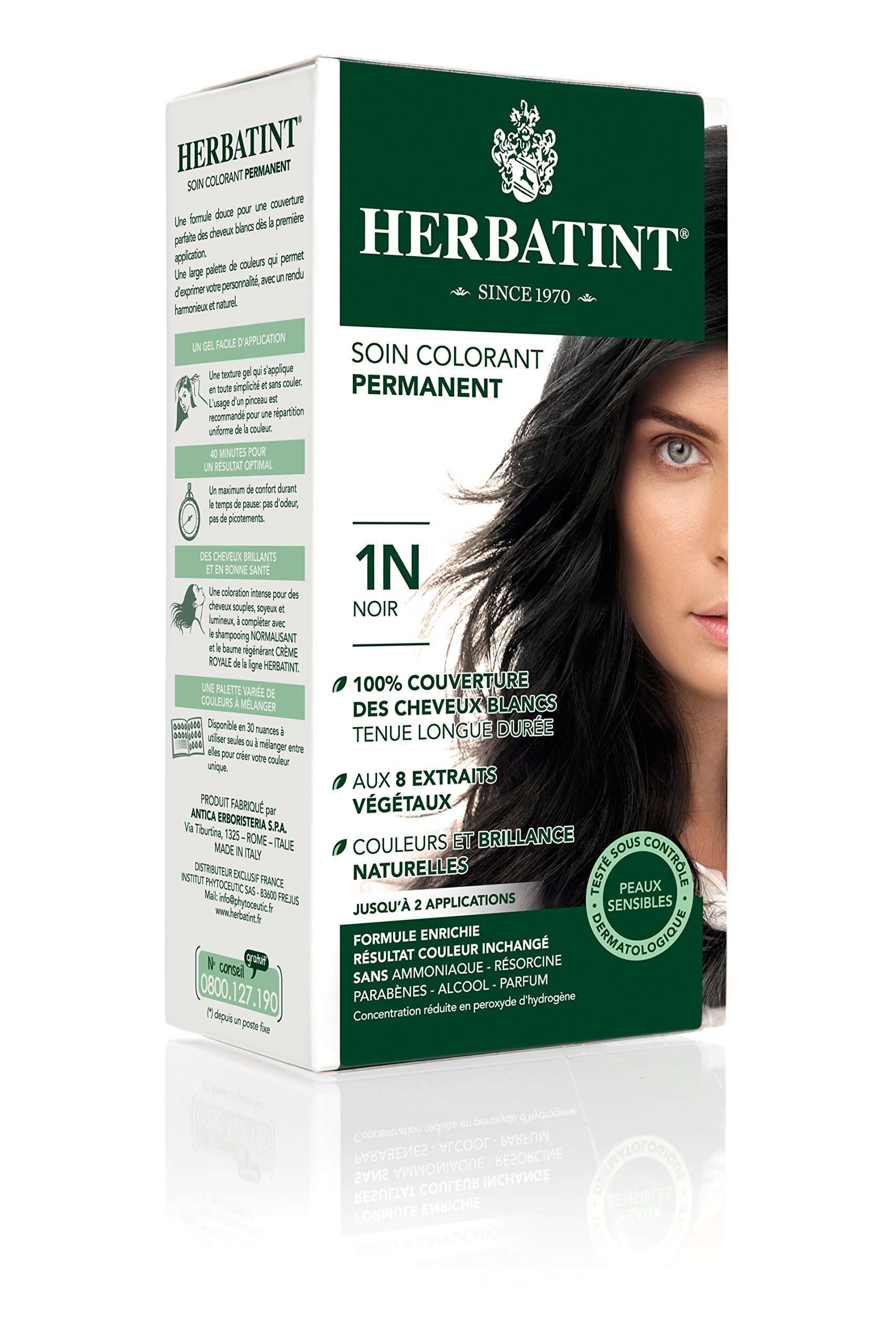 Herbatint Permanent Herbal Hair Color Gel, 1N Black, 4.56 Ounce