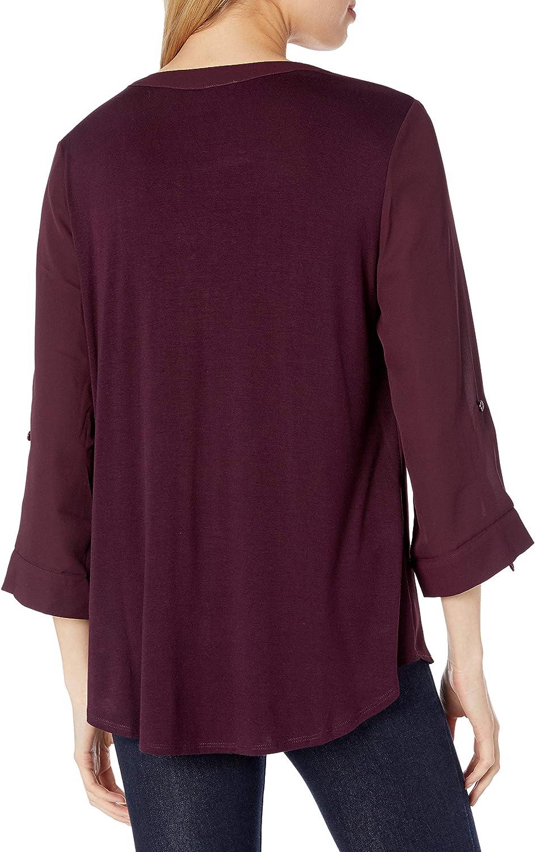 A Byer Womens Juniors Zipper Front Tab-Sleeve Top