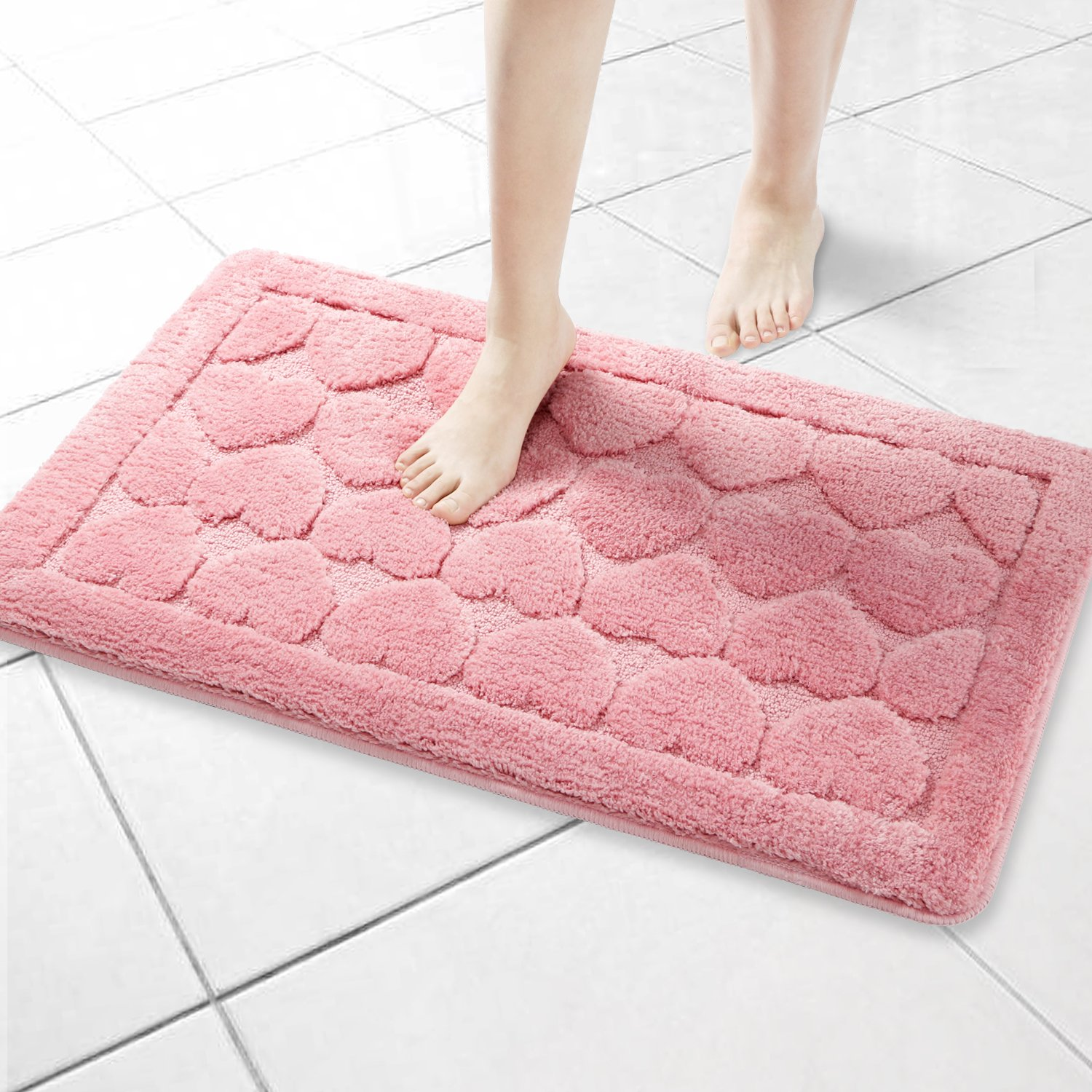 Seloom Super Absorbent Soft Heart Shaped Bath Rug Mat with Non Skid Baking, Perfect for Bathroom, Sink and Shower (20×32,Pink)