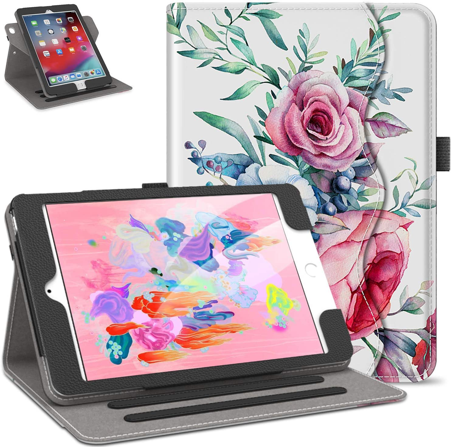 Retear Case for iPad 9.7 inch 2018/2017 360 Degree Rotating PU Lightweight Smart Leather Stand Apple Cover with Auto Wake/Sleep