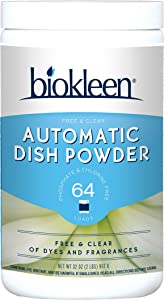 Biokleen Automatic Dish Powder, Free & Clear, 2 lbs (Pack of 12)