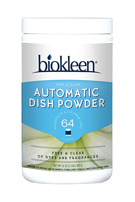 Biokleen Automatic Dishwashing Powder Detergent, Concentrated, Phosphate & Chlorine Free, Eco-Friendly, Non-Toxic, No Artificial Fragrance, Colors or Preservatives, Free & Clear, Unscented, 2 Pounds