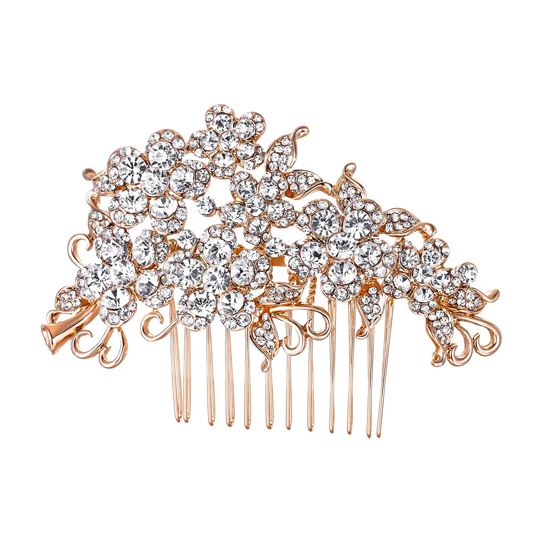 Ever Faith Wedding Hair Comb Flower Cluster Clear Austrian Crystal Silver-Tone A07500-1 A07500-2