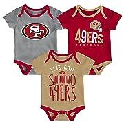 NFL by Outerstuff NFL San Francisco 49ers Newborn & Infant Little Tailgater Short Sleeve Bodysuit Set Crimson, 0-3 Months