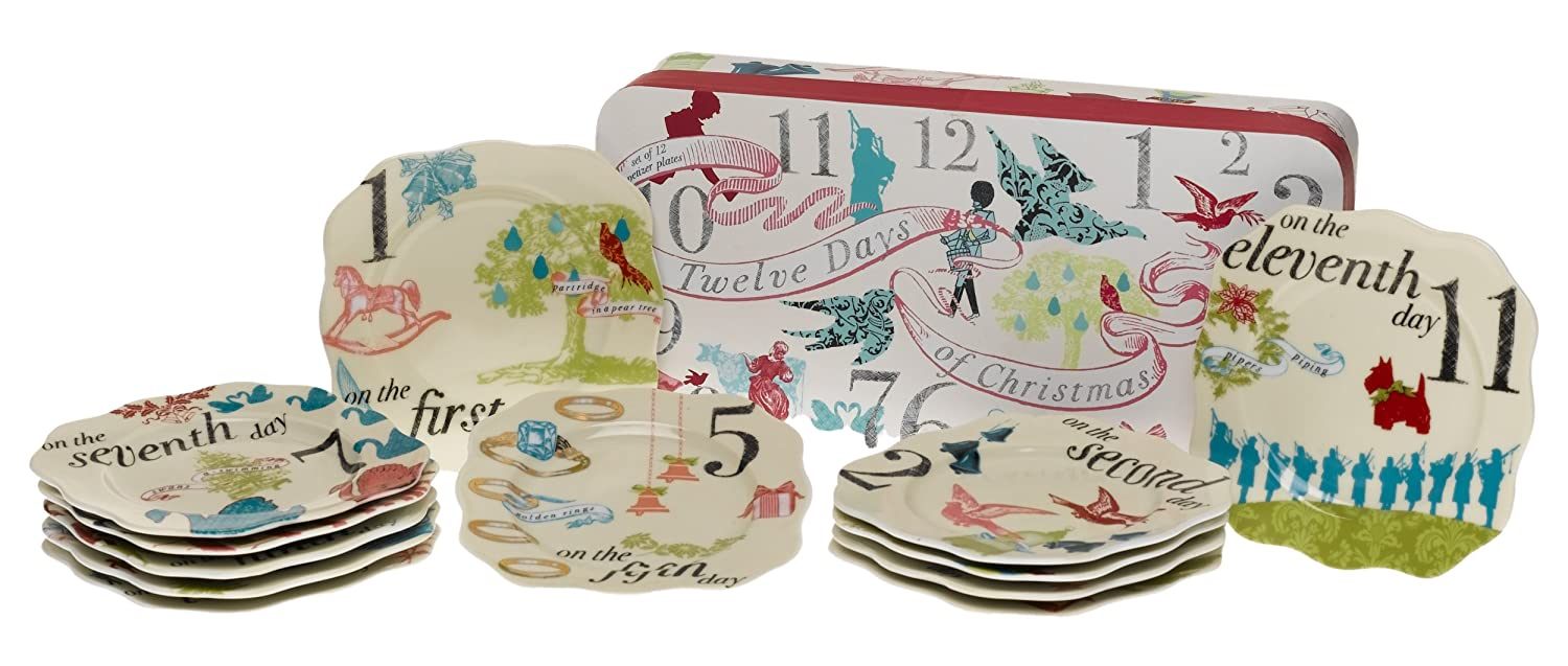 Rosanna Set of 12 Days Of Christmas Appetizer Plates