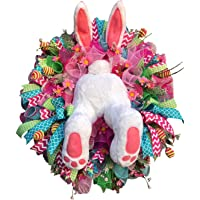 Easter Thief Bunny Rabbit Butt & Ears Wreath Easter Decoration Funny Home Decor Ornament Garland for Front Door, Kitchen…