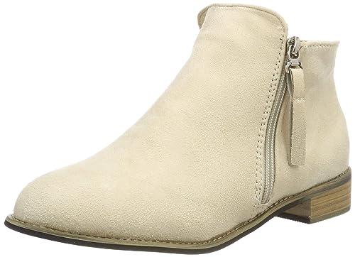 Botines Mujer Tacon Medio Planos Invierno Tacon Ancho Ante Piel Botas Botita Planas 2.5cm Casual Ankle Boots Suede Zapatos Caqui Beige Negros 35-43: ...