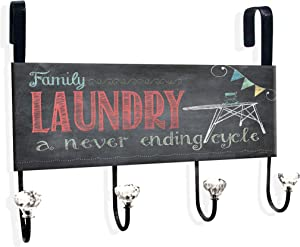 Stupell Home Décor Laundry A Never Ending Cycle Over The Door Hanger, 12 x 10.5 x 2, Proudly Made in USA