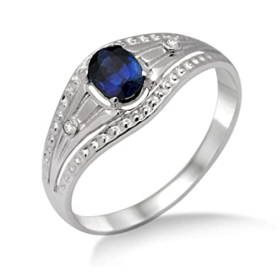 Miore Gold Ring 9ct White Gold Sapphire and Zirconia Ring Size