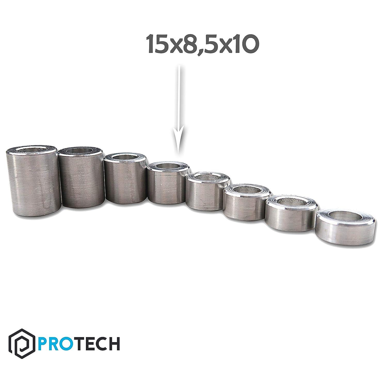 PROTECH Distanzh/ülsen Alu 10x5,3x15 aus Aluminium Abstandsh/ülse Rohrbuchse Metallh/ülsen H/ülsen 5 St/ück
