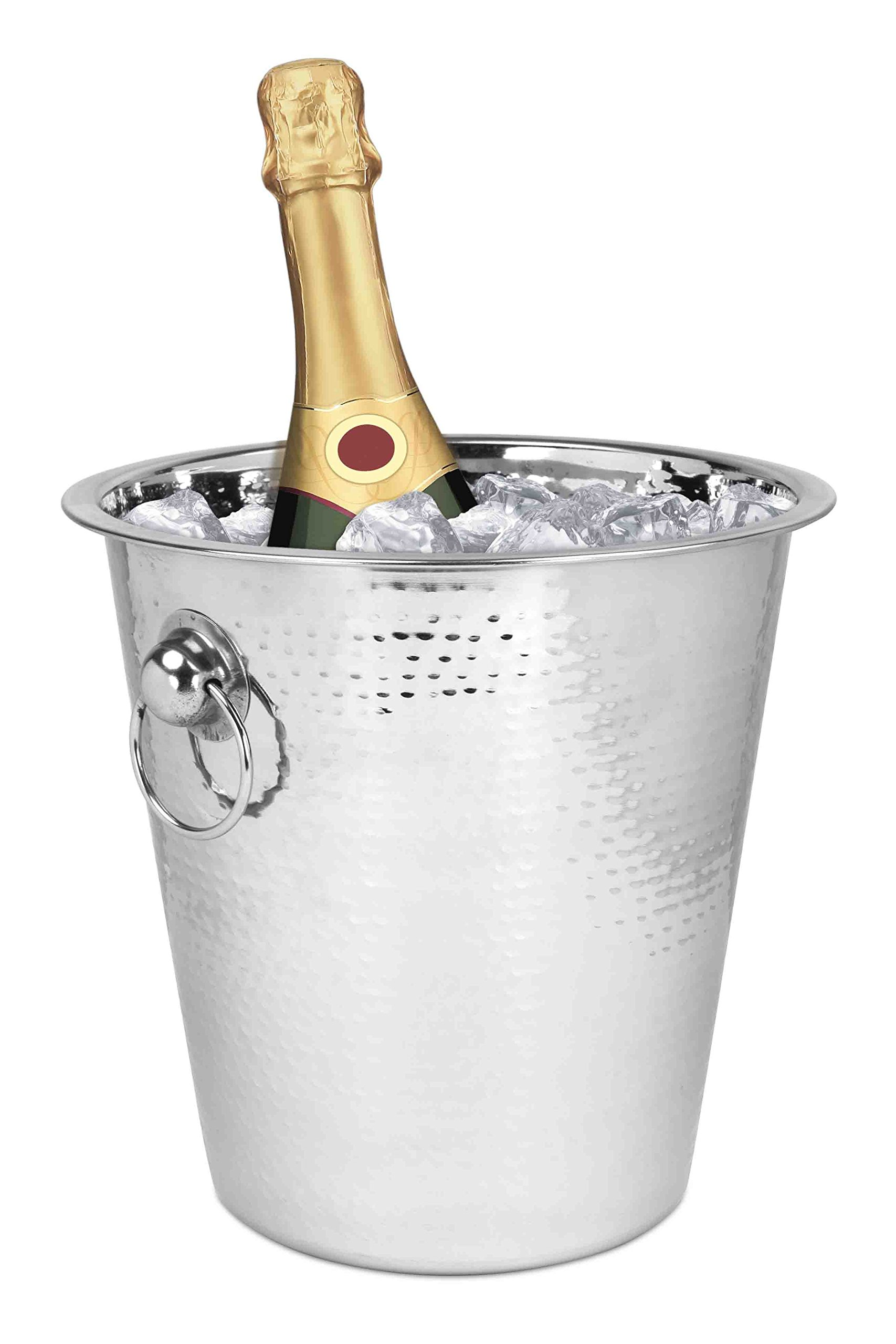 Home Basic IB44569 Champagne Hammered Bucket